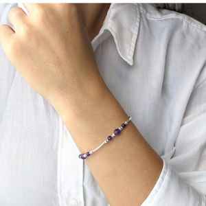 Load image into Gallery viewer, Sterling Silver Amethyst Beaded Strand Bracelet