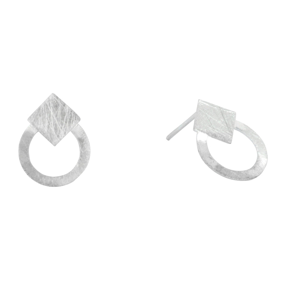 Sterling Silver Matte Finish Square Circle Stud Earrings