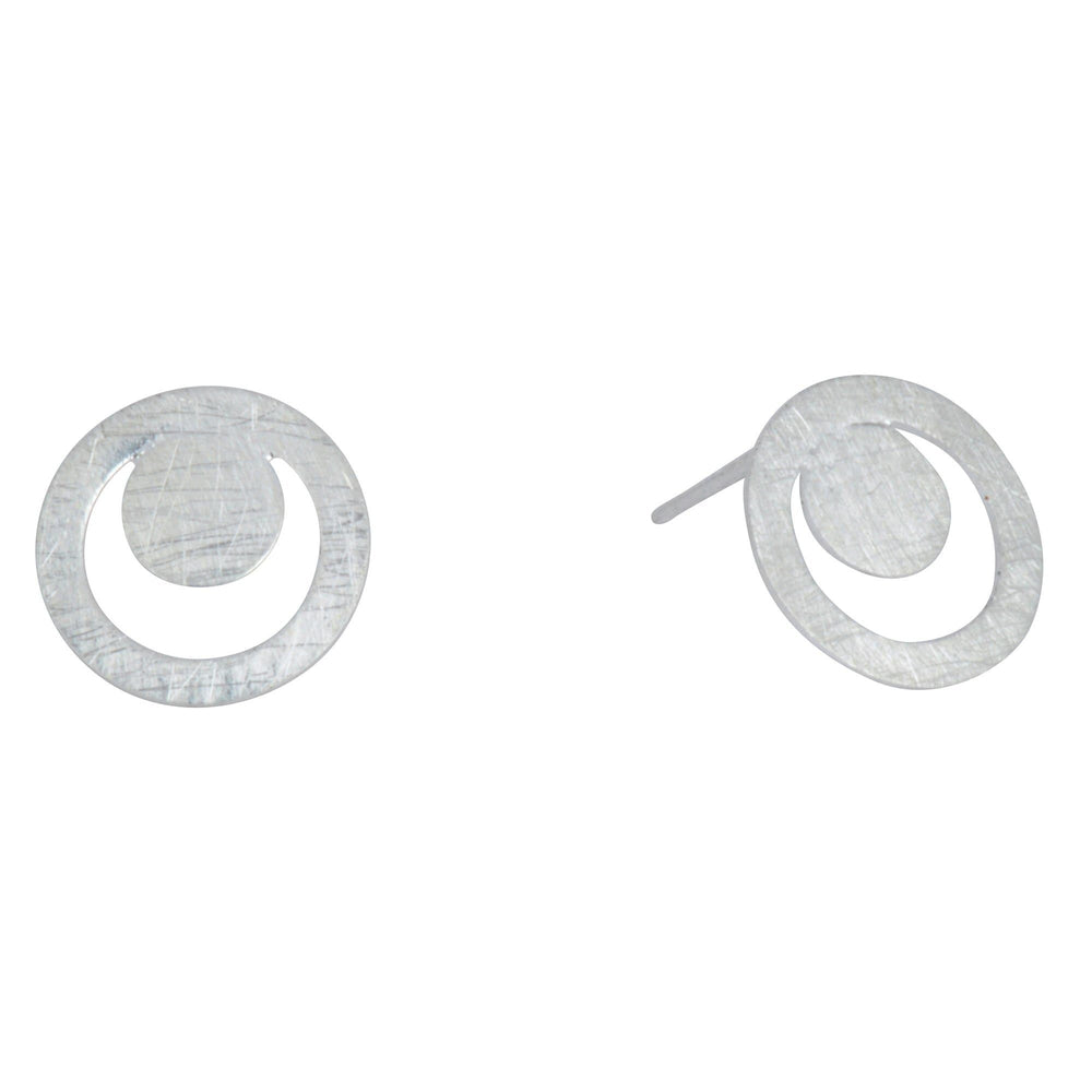 Sterling Silver Matte Finish Circle Stud Earrings