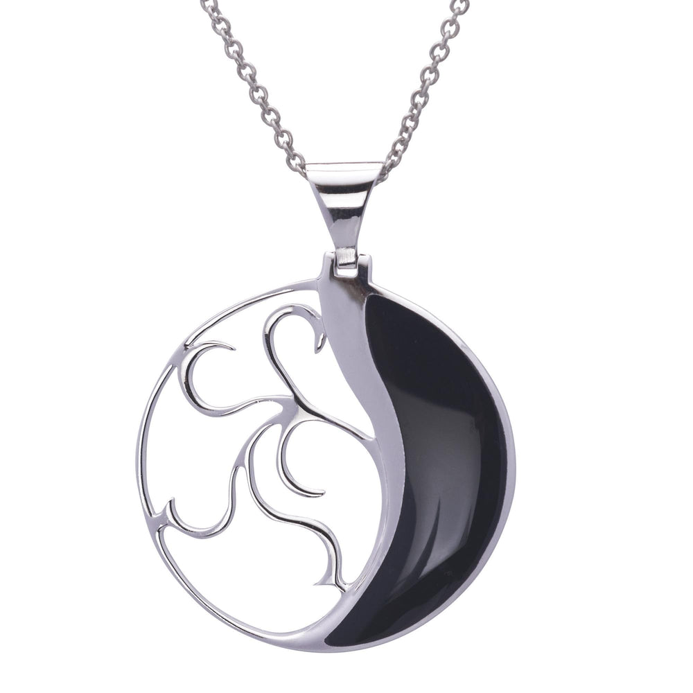 Sterling Silver Black Onyx Round Filigree Necklace - Silverly