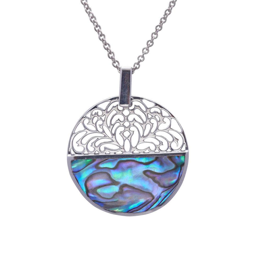Sterling Silver Abalone Shell Filigree Flower Necklace - Silverly