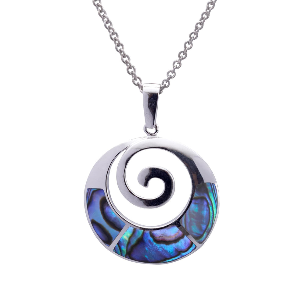 Sterling Silver Abalone Shell Round Spiral Necklace - Silverly