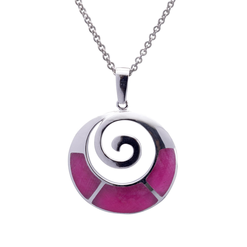 Sterling Silver Ruby Zoisite Round Spiral Pendant Necklace - Silverly