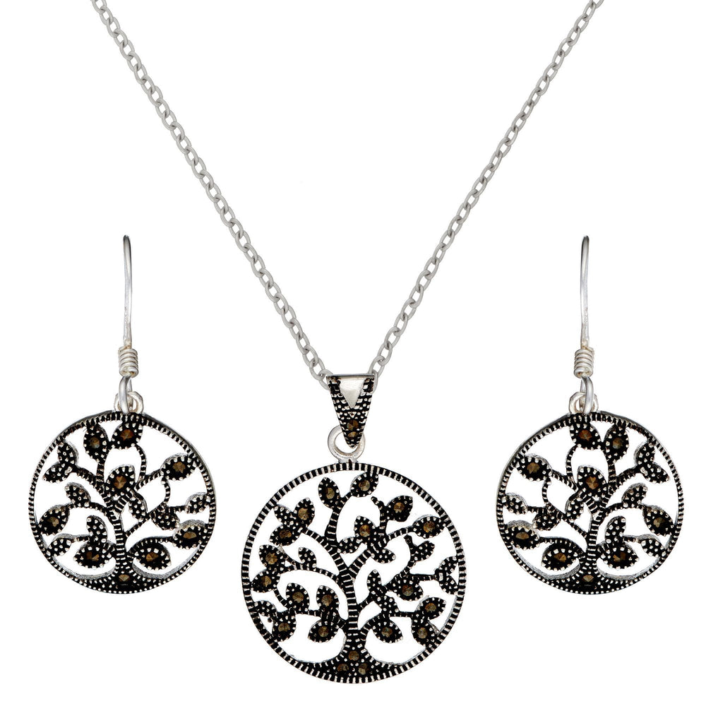 Sterling Silver Marcasite Tree Of Life Set - Silverly