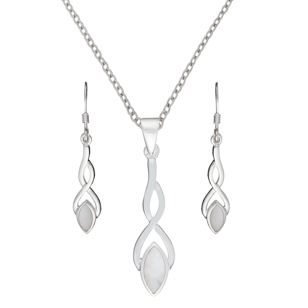 Sterling Silver Mother of Pearl Celtic Knot Drop Set - Silverly
