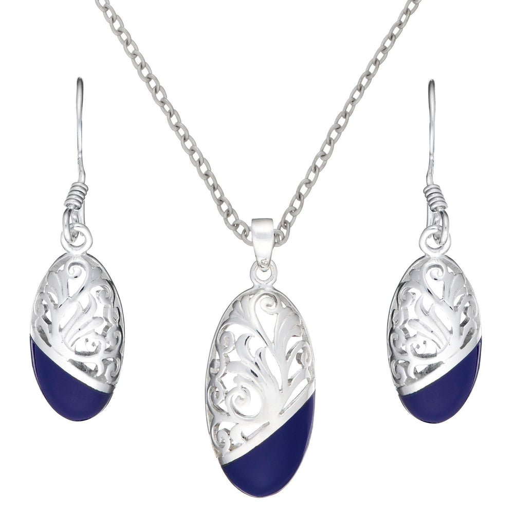 Sterling Silver Blue Dipped Filigree Oval Set - Silverly