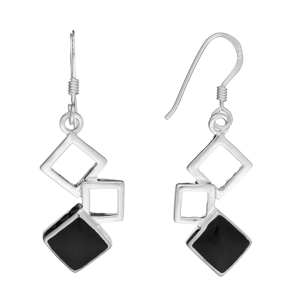 Sterling Silver Onyx Square Dangle Earrings - Silverly