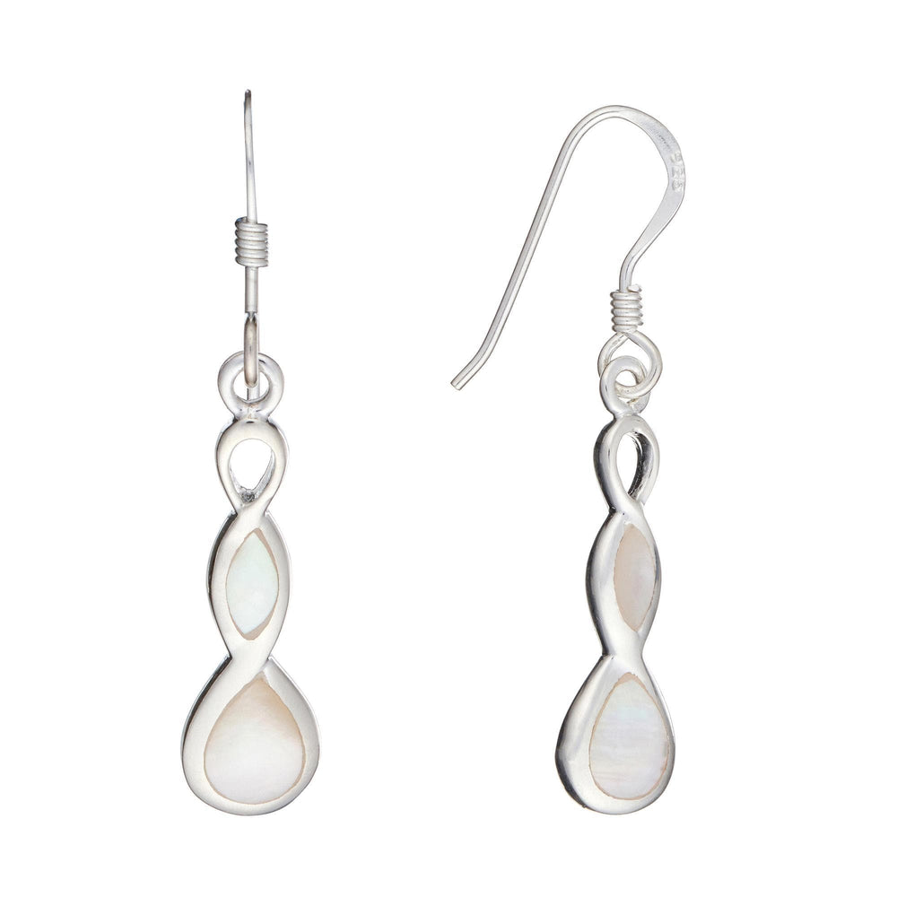 Sterling Silver Mother of Pearl Shell Celtic Twist Earrings - Silverly