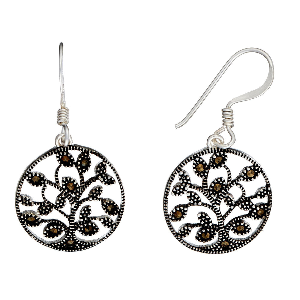 Sterling Silver Marcasite Tree Of Life Dangle Earrings - Silverly