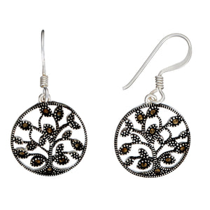 Load image into Gallery viewer, Sterling Silver Marcasite Tree Of Life Dangle Earrings