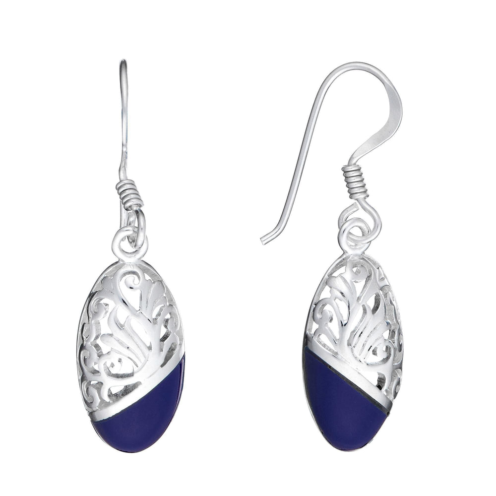 Sterling Silver Blue Oval Dangle Earrings - Silverly