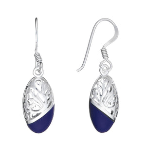 Load image into Gallery viewer, Sterling Silver Blue Oval Dangle Earrings - Silverly