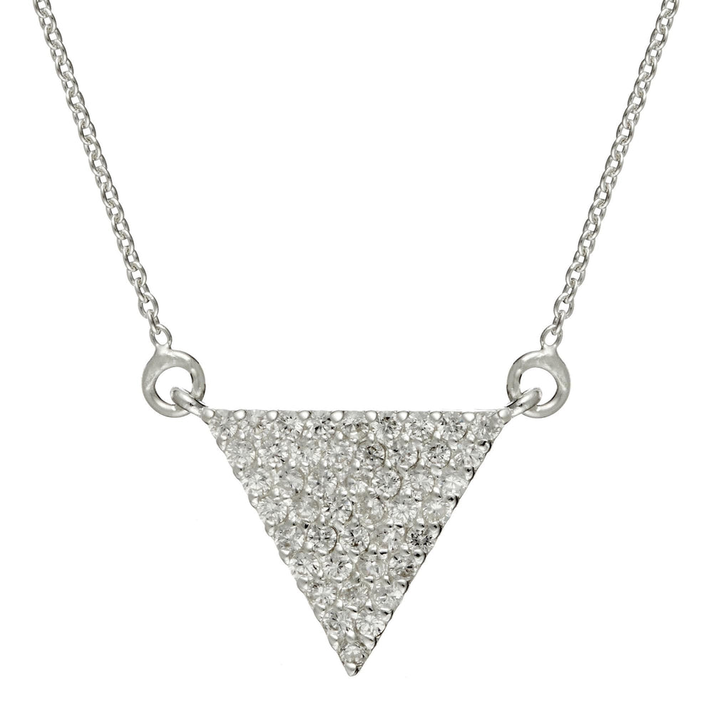 Sterling Silver Triangle Cubic Zirconia Necklace - Silverly