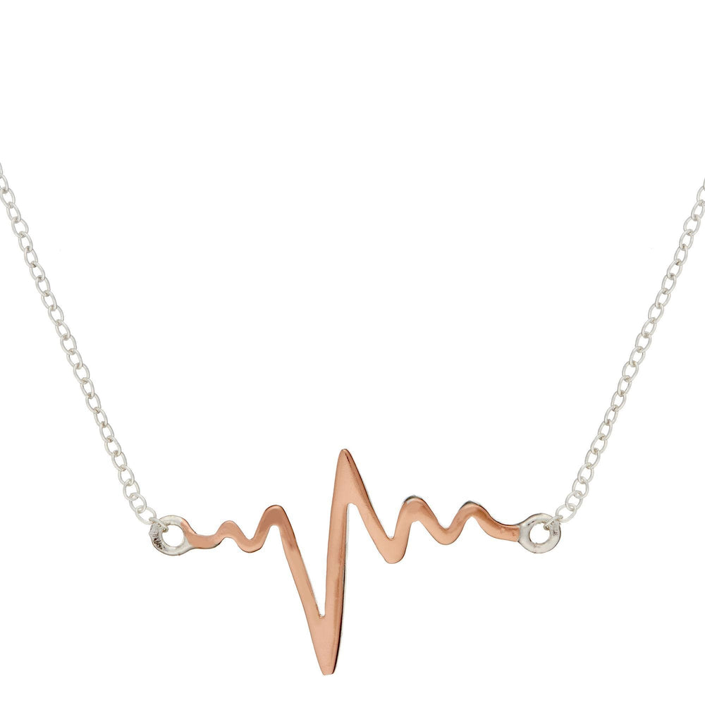 Sterling Silver Rose Gold Heart Beat Necklace - Silverly