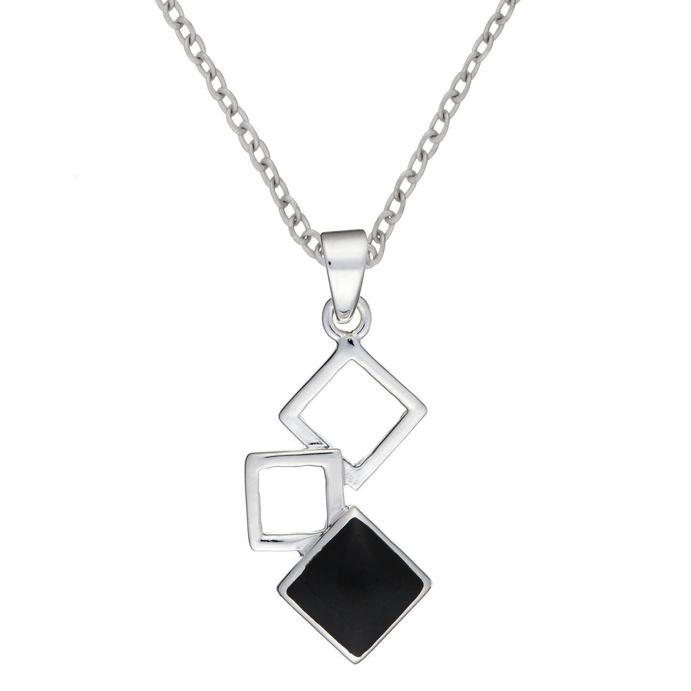 Sterling Silver Onyx Square Pendant Necklace - Silverly