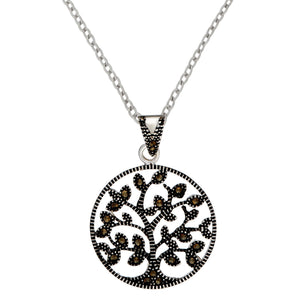 Load image into Gallery viewer, Sterling Silver Marcasite Circle Tree Of Life Pendant Necklace - Silverly