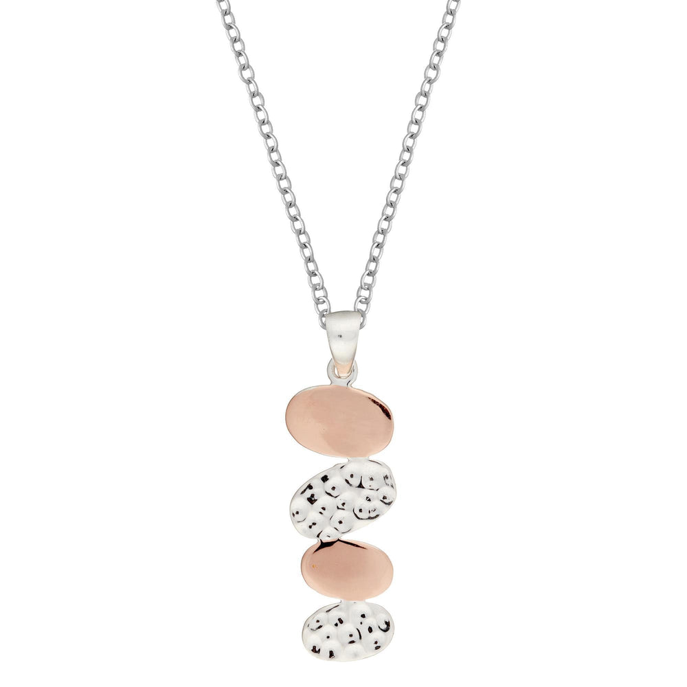 Rose Gold Plated Sterling Silver Hammered Oval Cluster Pendant Necklace - Silverly