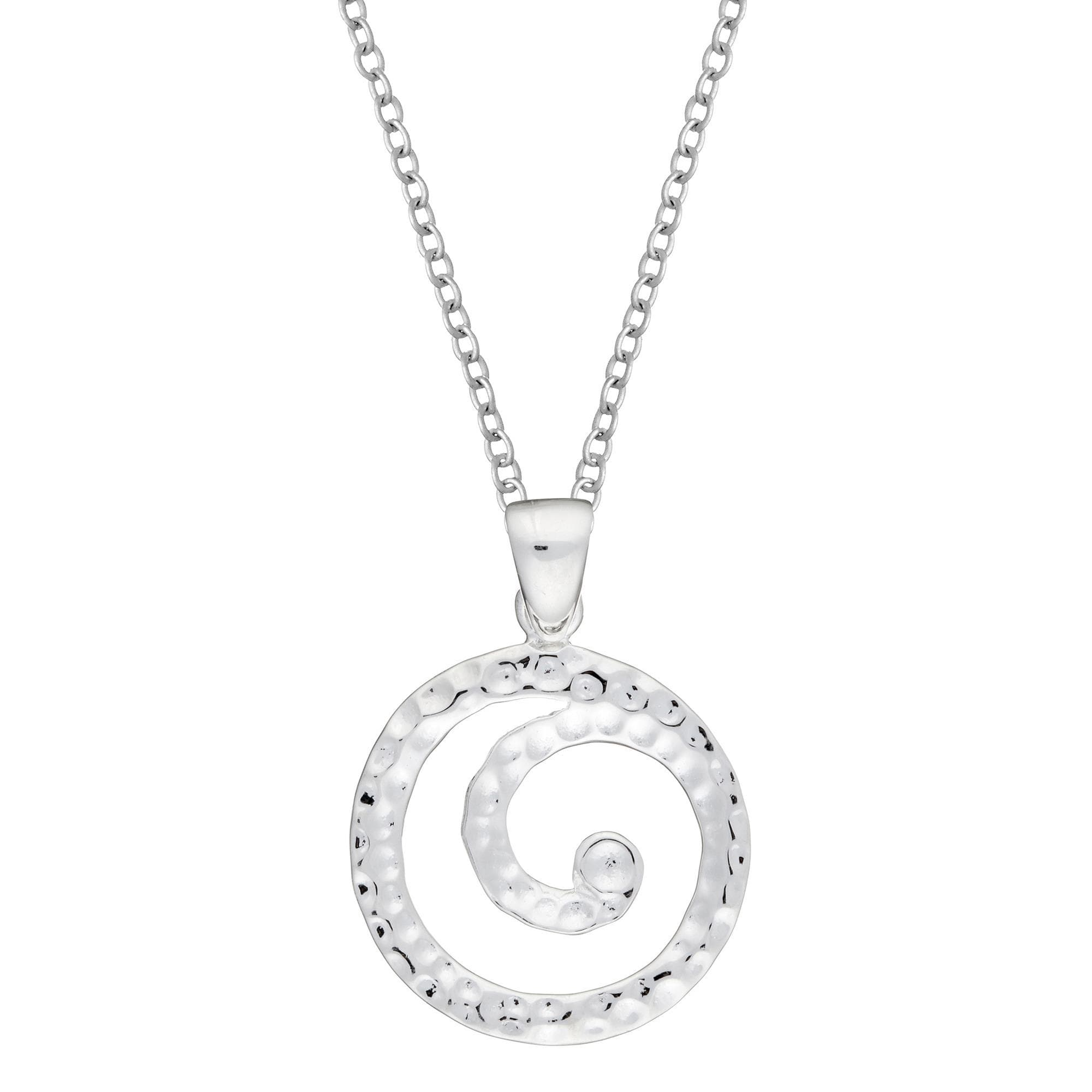 store crystal pendant spiral silver necklace clear toned