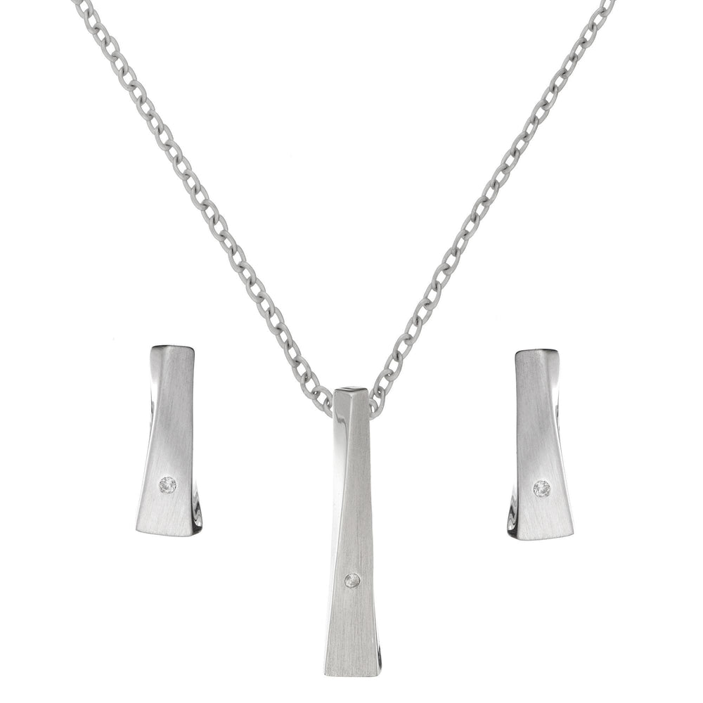 Sterling Silver Diamond Twisted Bar Set - Silverly