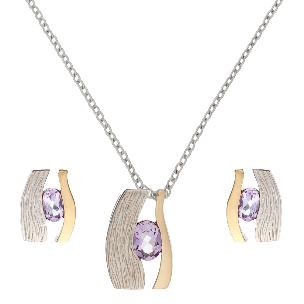 Load image into Gallery viewer, Gold Plated Sterling Silver Amethyst Eye of Horus Set