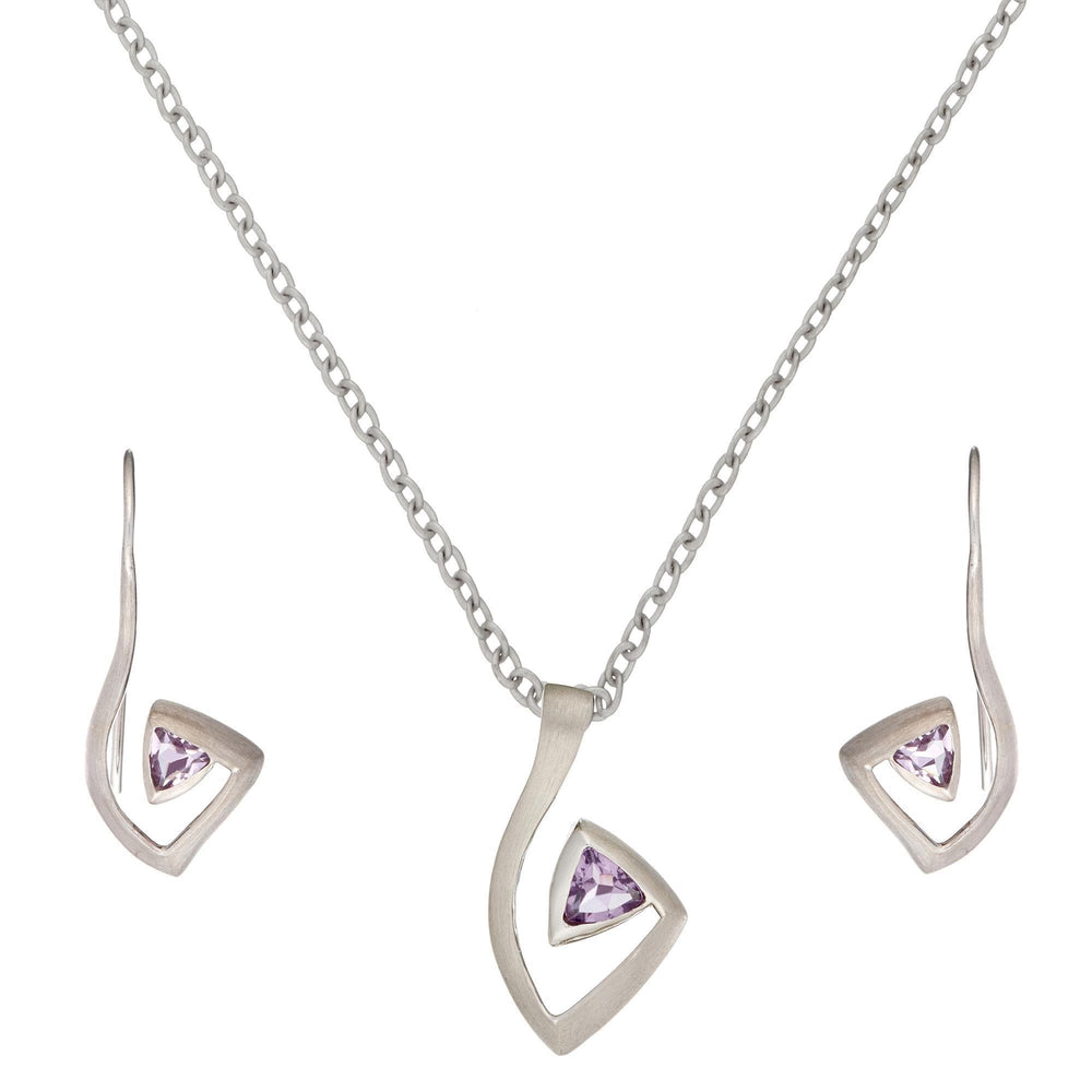 Sterling Silver Amethyst Musical Note Set - Silverly