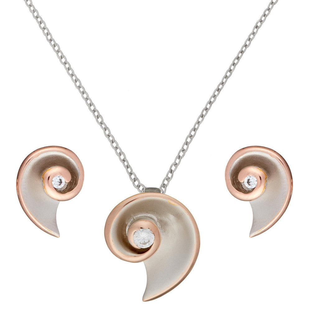 Rose Gold Plated Sterling Silver CZ Shell Coil Set - Silverly