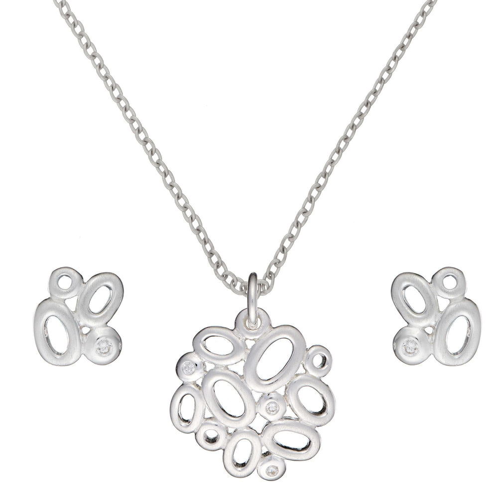 Sterling Silver Contemporary CZ Oval Cluster Set - Silverly