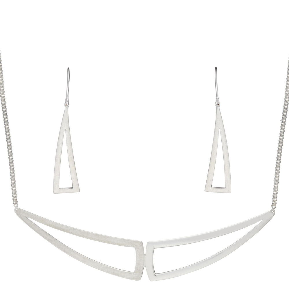 Sterling Silver Contemporary Geometric Triangle Set - Silverly