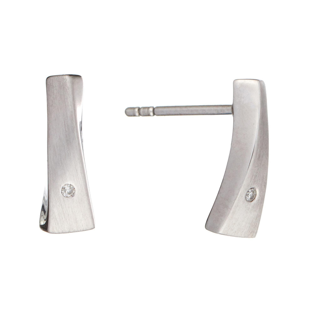 Satin Sterling Silver Stud Bar Earrings with Diamond - Silverly