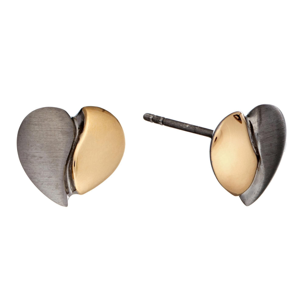 Gold Plated Sterling Silver Stud 2 Tone Half Heart Earrings - Silverly