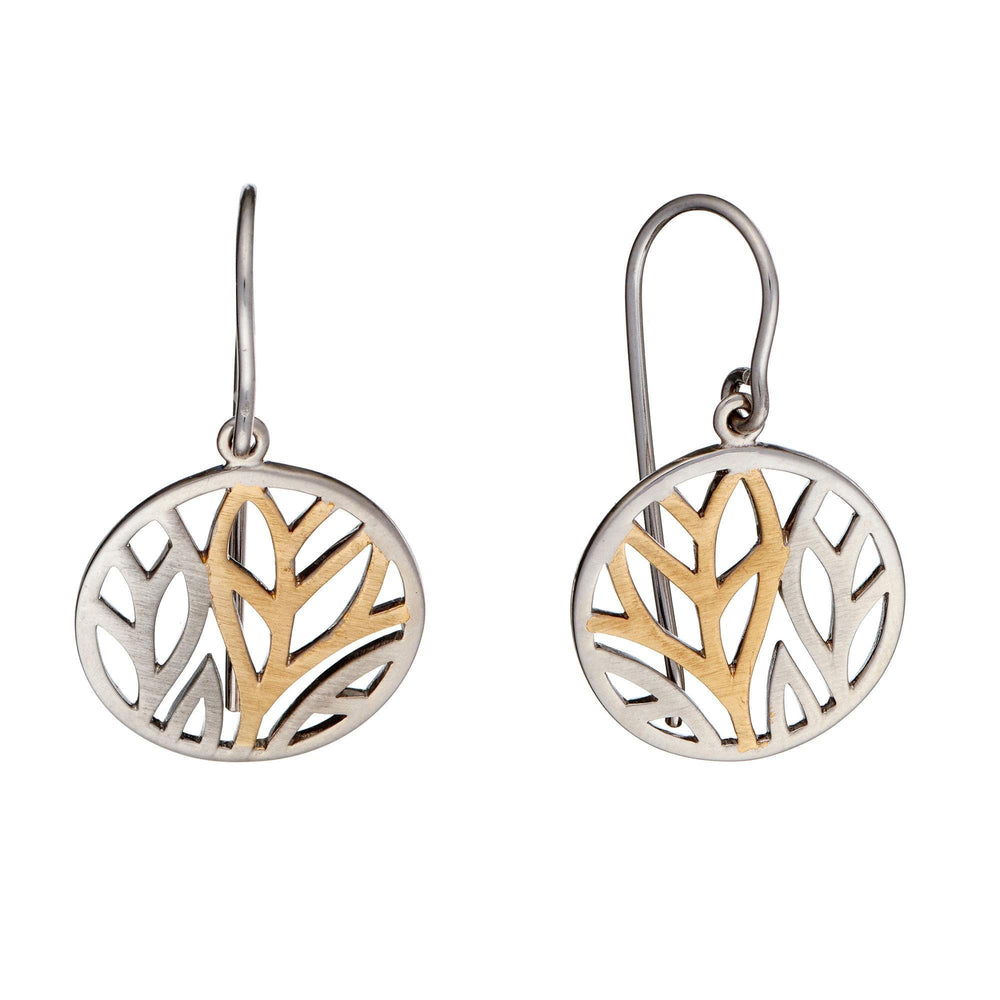 Gold Plated Sterling Silver Leaf Round Dangle Earrings - Silverly