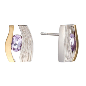 Load image into Gallery viewer, Gold Plated Sterling Silver Amethyst Eye Stud Earrings - Silverly