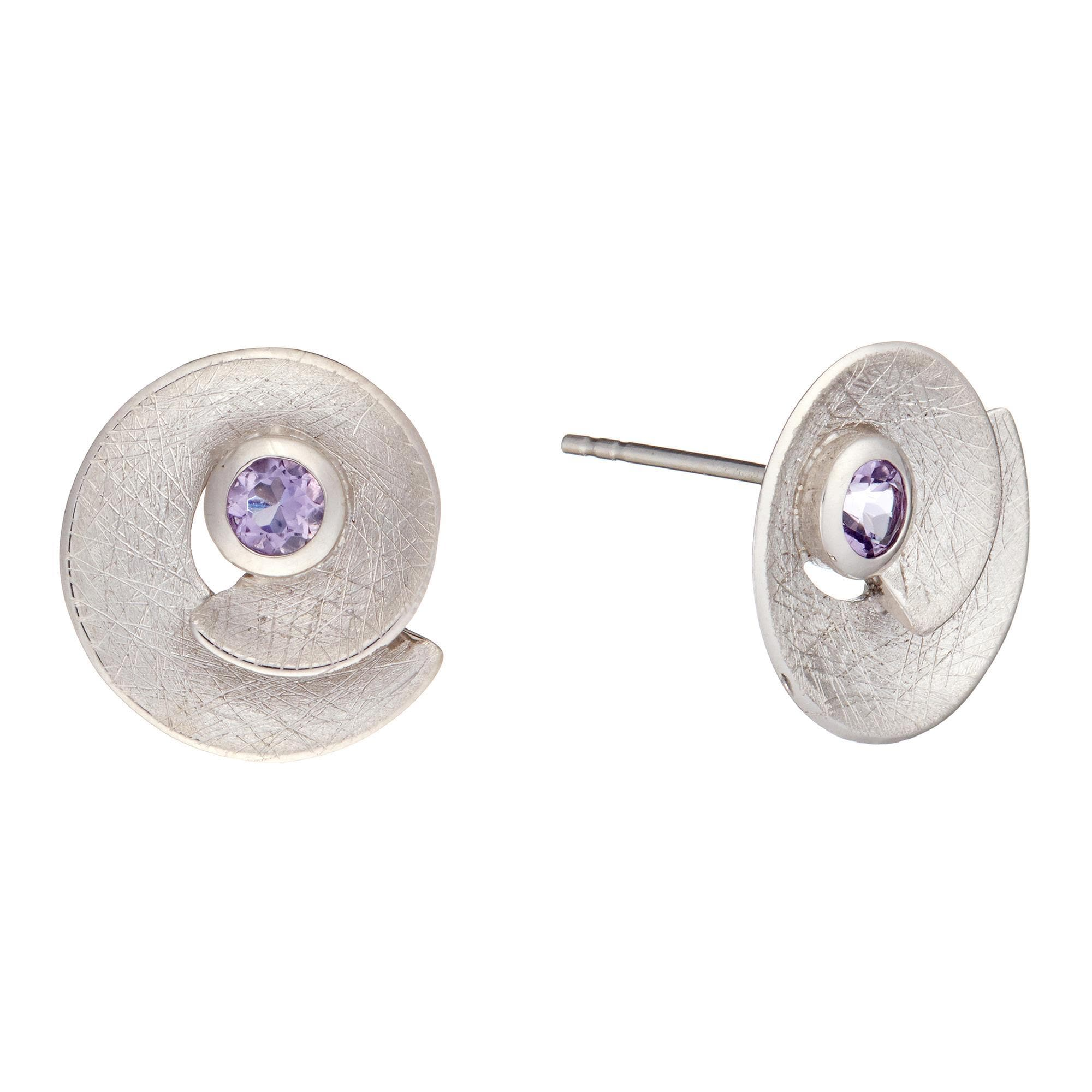 Silverly 14 K Gold-Plated .925 Sterling Silver Amethyst Gemstone Eye Stud Earrings