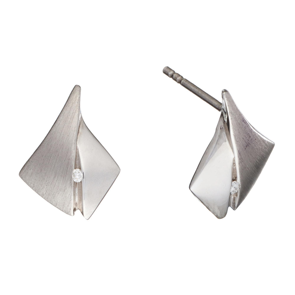Sterling Silver Diamond Origami Earrings - Silverly