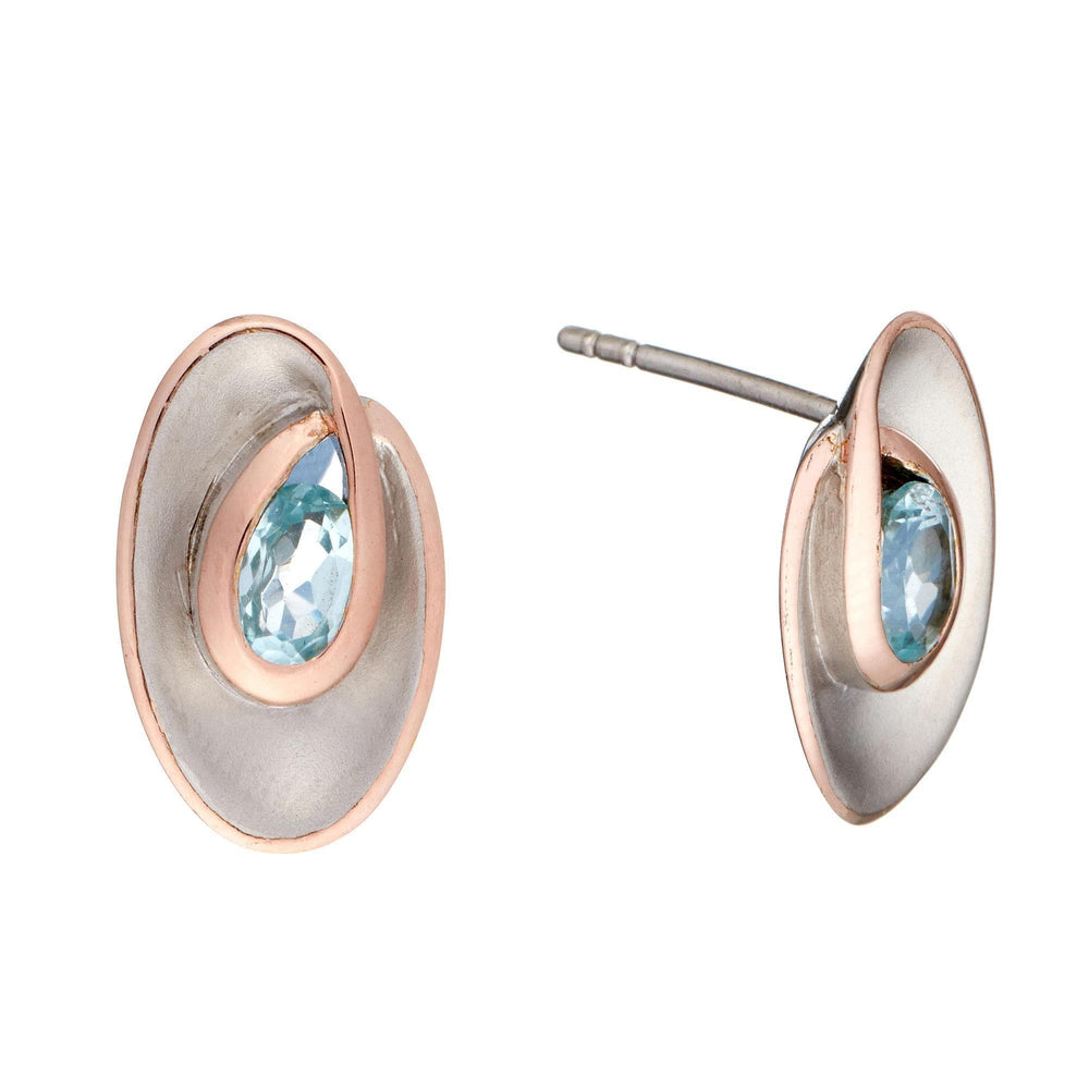 Rose Gold Plated Sterling Silver Topaz Sky Blue Oval Stud Earrings - Silverly