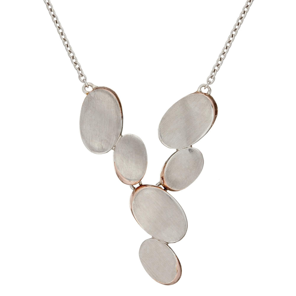 14K Rose Gold Plated Satin Stones Contemporary Necklace - Silverly
