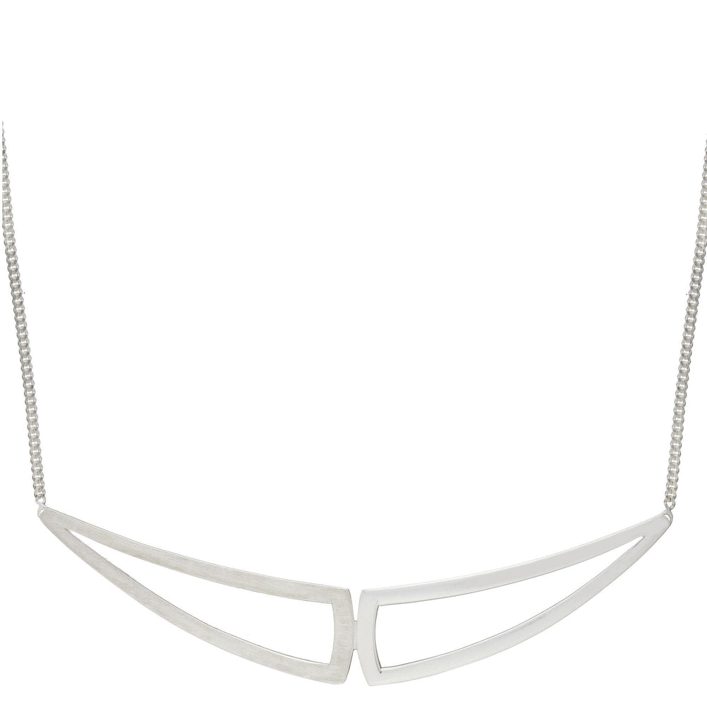 Sterling Silver Half Satin Geometric Triangle Contemporary Necklace - Silverly