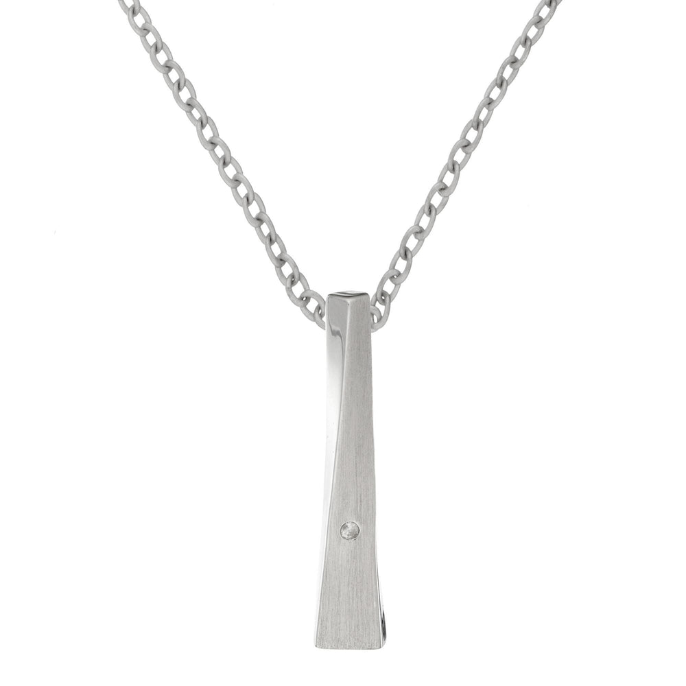 Satin Sterling Silver Diamond Bar Pendant Necklace - Silverly