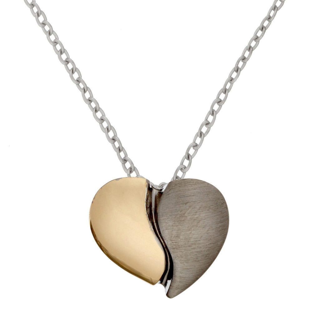 Gold Plated Sterling Silver Half Heart 2 Tone Pendant Necklace - Silverly