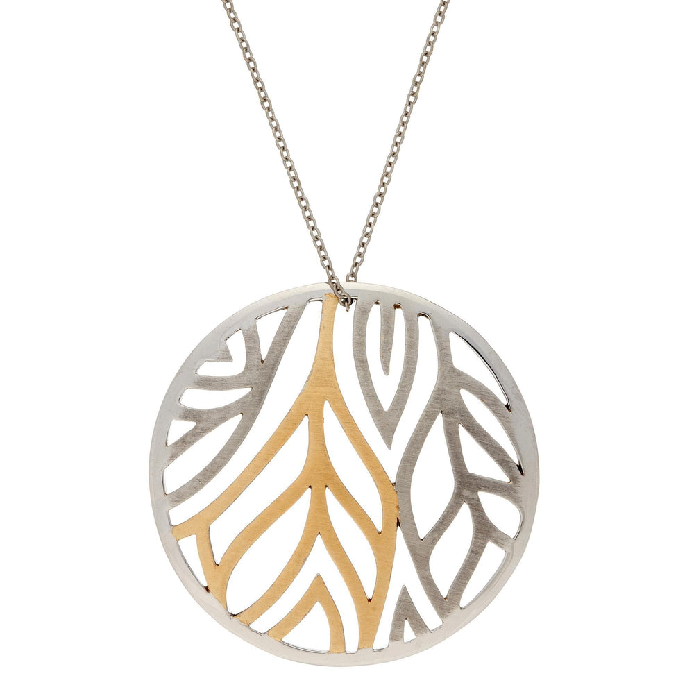 Gold Plated Sterling Silver Leaf Round Pendant Necklace - Silverly