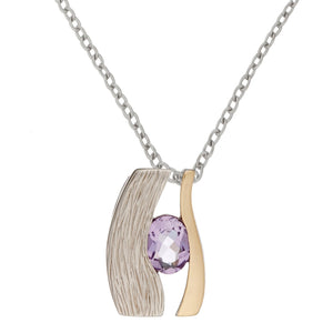 Load image into Gallery viewer, Gold Plated Sterling Silver Amethyst Eye Pendant Necklace