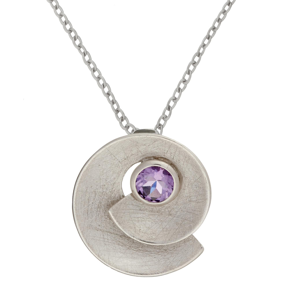 Sterling Silver Amethyst Round Spiral Shell Pendant Necklace - Silverly