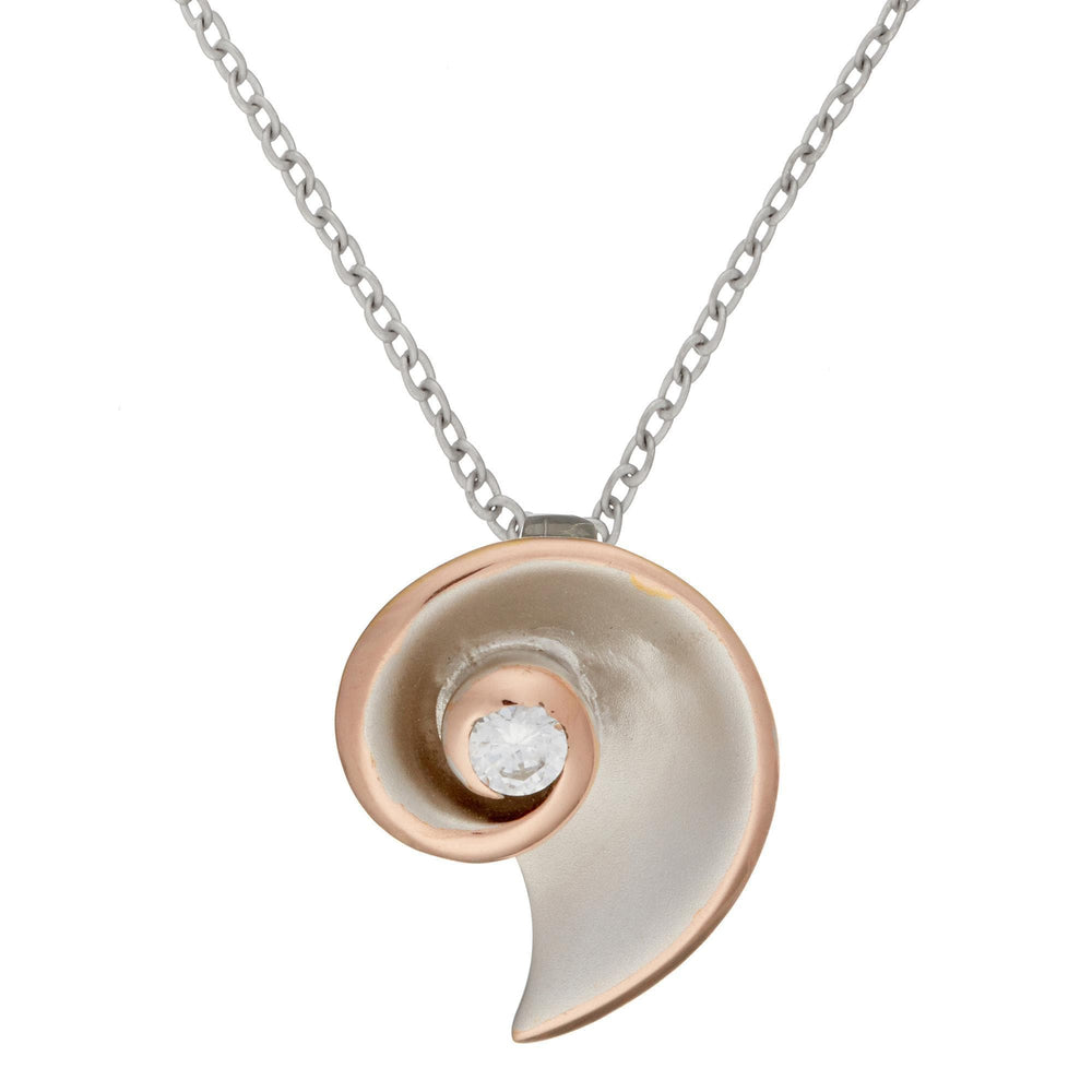 Rose Gold Plated Sterling Silver CZ Seashell Coil Pendant Necklace - Silverly