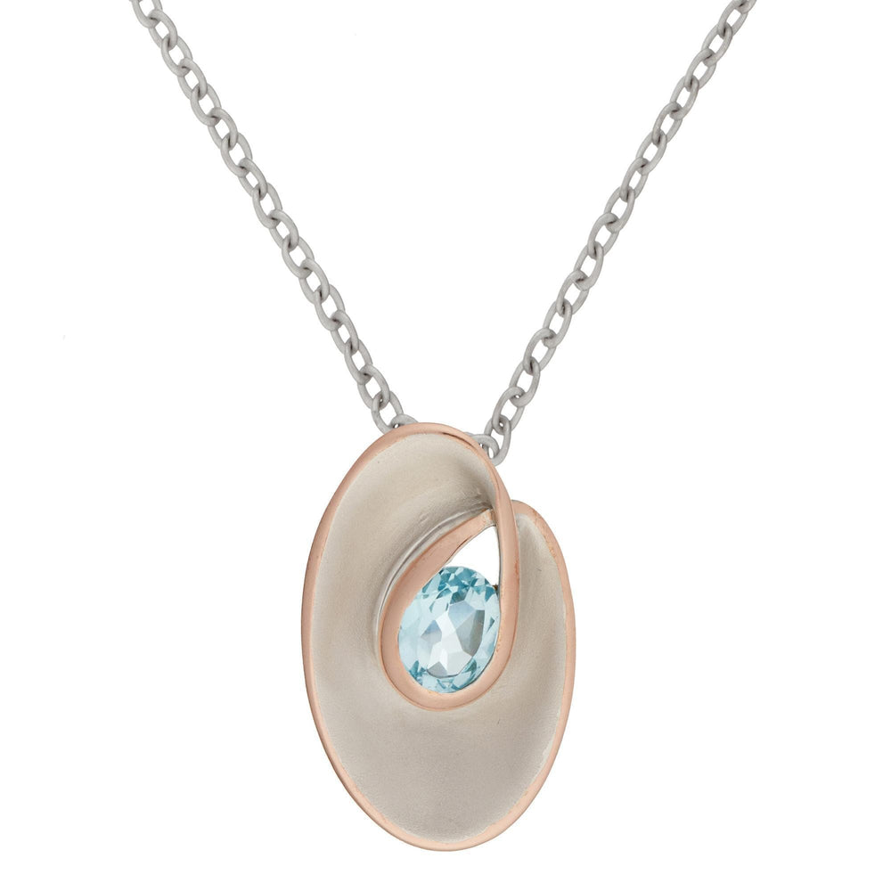 Rose Gold Plated Sterling Silver Topaz Sky Blue Oval Necklace - Silverly