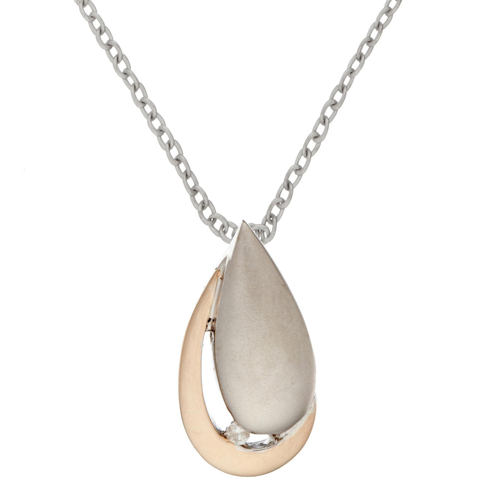 Load image into Gallery viewer, Gold Plated Sterling Silver Cradled Teardrop & Diamond Pendant Necklace