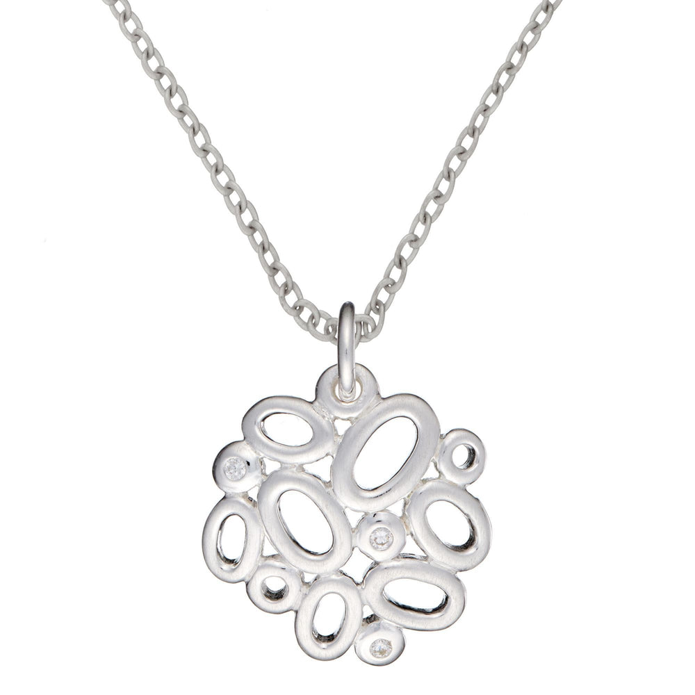 Sterling Silver Contemporary CZ Oval Cluster Pendant Necklace - Silverly
