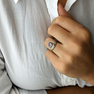 Load image into Gallery viewer, Satin Sterling Silver Amethyst Triangle Cut Ring