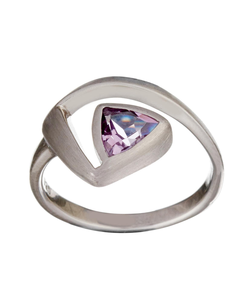 Satin Sterling Silver Amethyst Triangle Cut Ring - Silverly