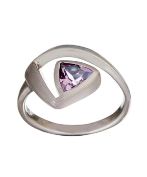 Load image into Gallery viewer, Satin Sterling Silver Amethyst Triangle Cut Ring - Silverly