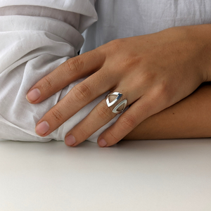 Load image into Gallery viewer, Satin Sterling Silver Geometric Triangle Open Ring